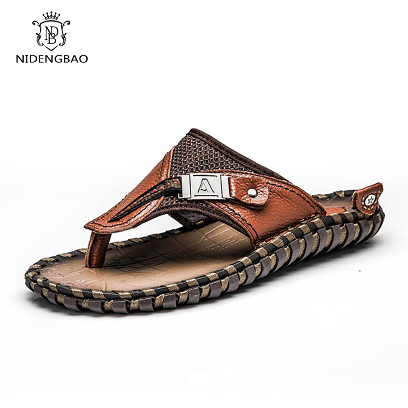 Shoes Men Sandals Slippers Flip-Flops Male Outdoor Big-Size Genuine-Leather Beach Casual