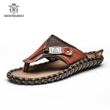 Big Size 38-48 Genuine Leather Flip Flops Men Luxury Brand Male Slippers Summer Outdoor Beach Casual Sandals Fashion Shoes Men цена