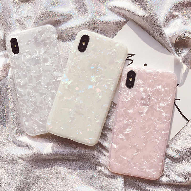 Glossy Marmer Case untuk iPhone 11Pro Max 6 6 S 7 7 Plus X XS Max XR Conch Shell Epoxy mimpi Silikon Shockproof Glitter Soft Cover