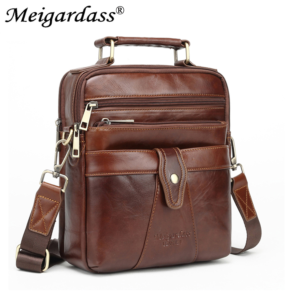 2019 Business Mens Bags Handbags Genuine Leather Messenger Shoulder Bags Male Travel Crossbody Bag IPad Tablet Bag Tote Purse