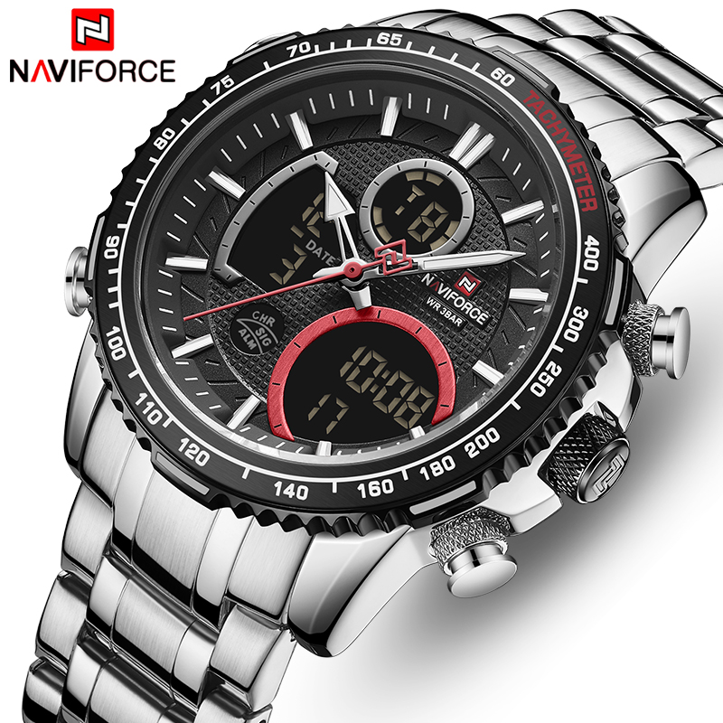 NAVIFORCE Brand Watch Men Stainless Steel Band Waterproof Quartz Wristwatch Big Sports Chronograph Clock Watches Date Male Reloj