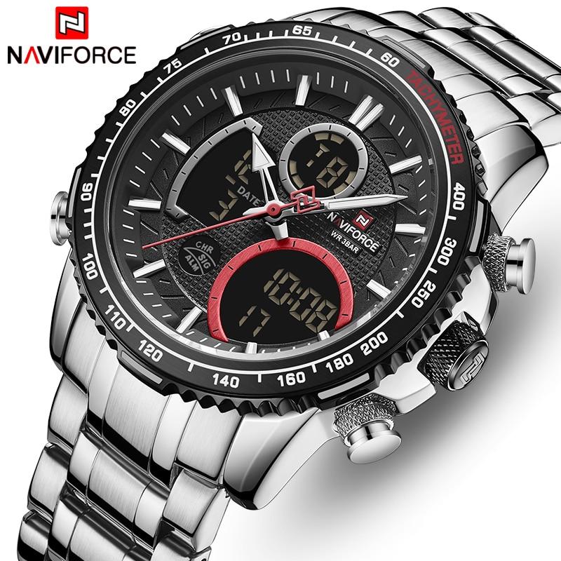 NAVIFORCE Brand Watch Men Stainless Steel Band Waterproof Quartz Wristwatch Big Sports Chronograph Clock Watches Date Male Reloj