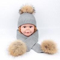 2019 Kids Hat Scarf 2 PCS Warm Fur Children's Winter Hats Knitted Baby Boys Beanie Fashion Toddlers Girls Cap Pompoms
