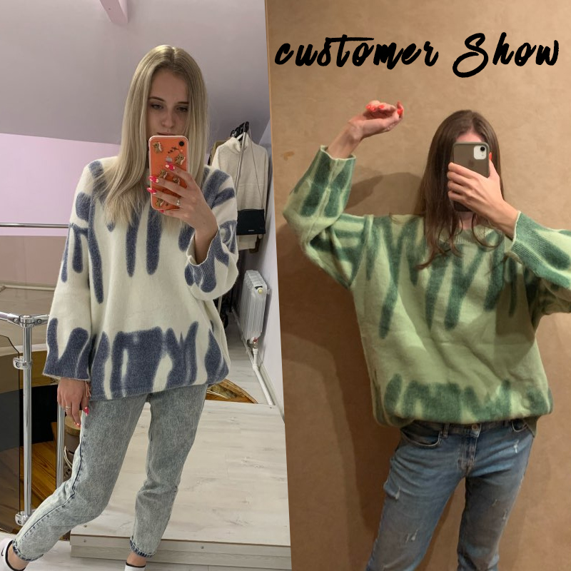 Aproms Elegant Green Striped Print Oversized Pullovers Women Winter O-Neck Loose Long Sweaters Streetwear Warm Outerwear 2021 5