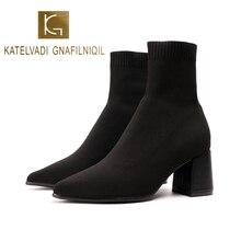 KATELVADI Women Boots 2020 Winter Fashion Female Black Knitting Sock Slip On Thick Heels 7CM Shoes 35-39 YLT-002