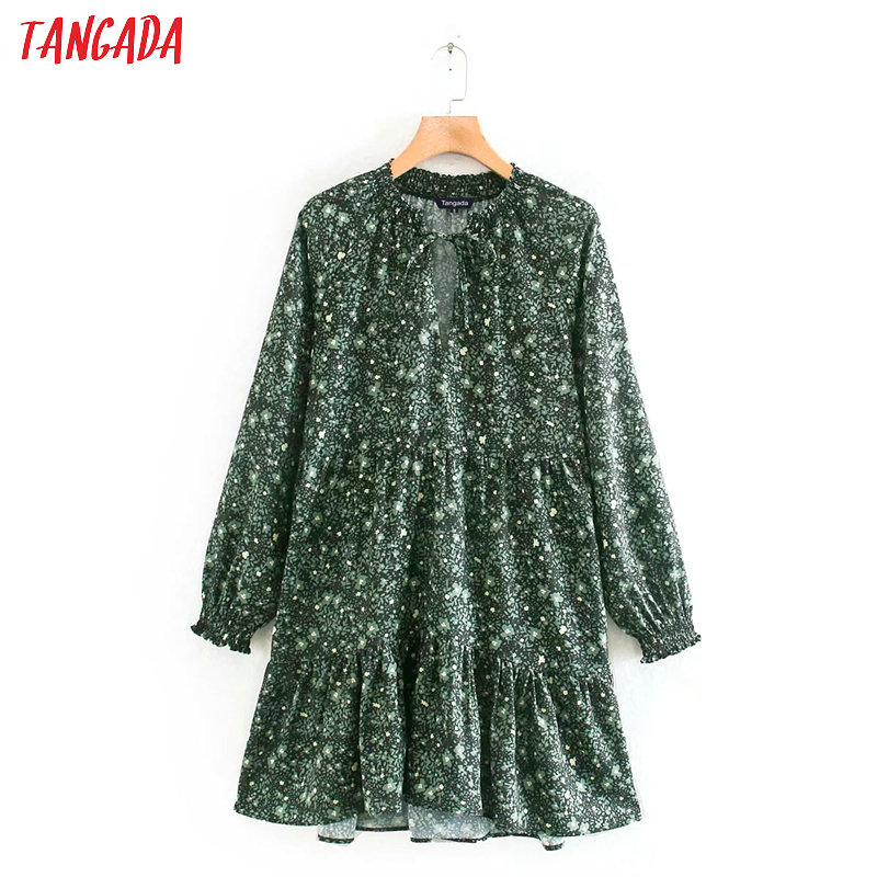 Tangada Fashion Women Green Flowers Print Dress Pleated Bow Neck Long Sleeve Ladies Loose Mini Dress Vestidos XN423