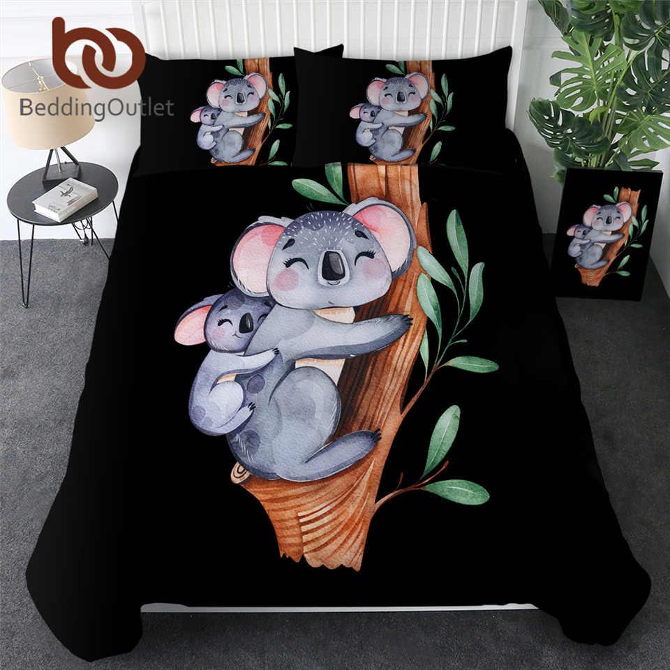 BeddingOutlet Koala Famiglia Set di Biancheria Da Letto Del Fumetto Trapunte Della Copertura Albero di Eucalipto Foglia di Tessili Per La Casa Acquerello Animale Da Letto Per Bambini Set