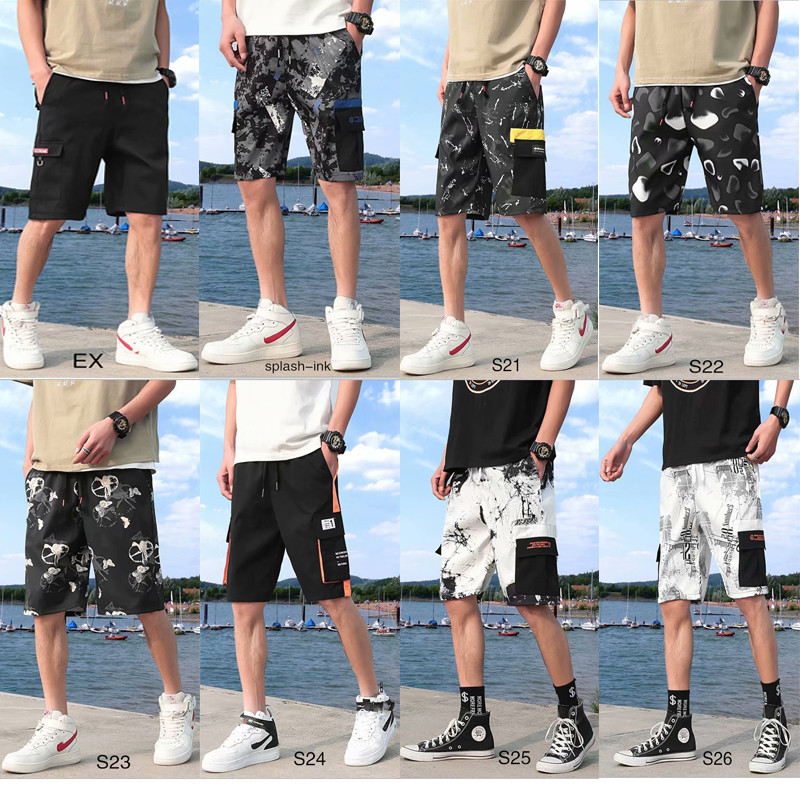 2020 New Summer Casual Men's Shorts Loose Elastic Waist Safari Style Jogging Sports Shorts Fashion Hip Hop Streetwear Shorts Men