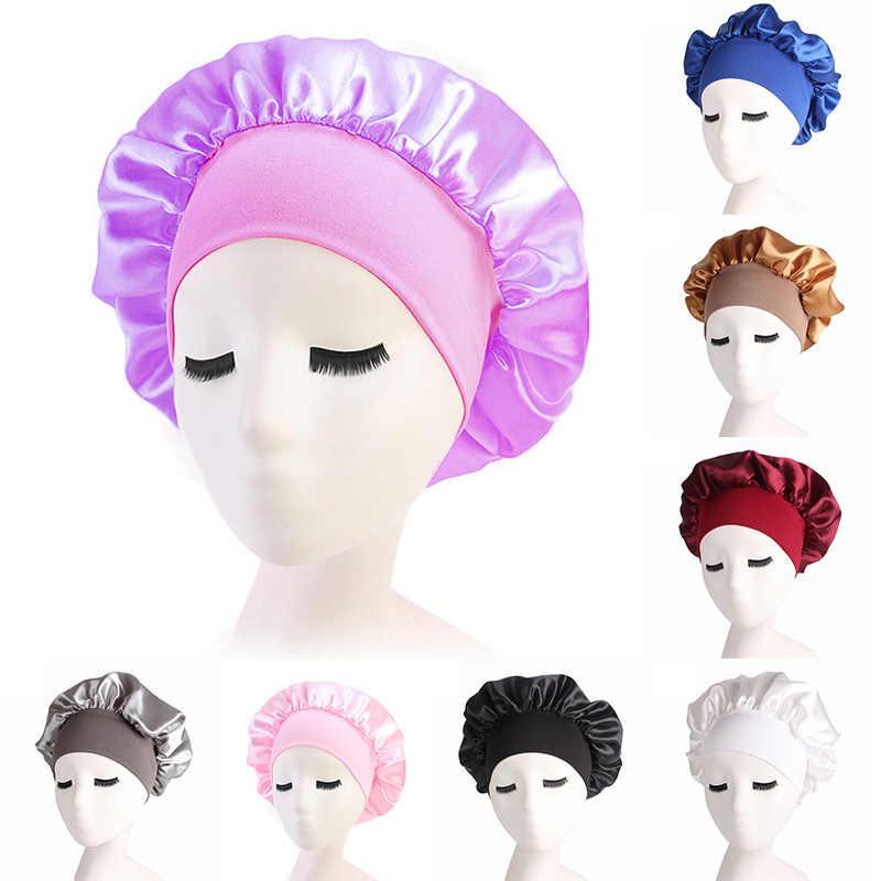 8 couleur casquettes de couchage femmes Satin solide à large bord haut élastique dormir chapeau nuit sommeil casquette soins des cheveux Bonnet de nuit TSLM2