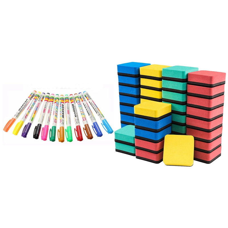 12 Colors White Board Marker Pen White Board Children's Stationery Dry-Erase Pen with Dry Erase Erasers