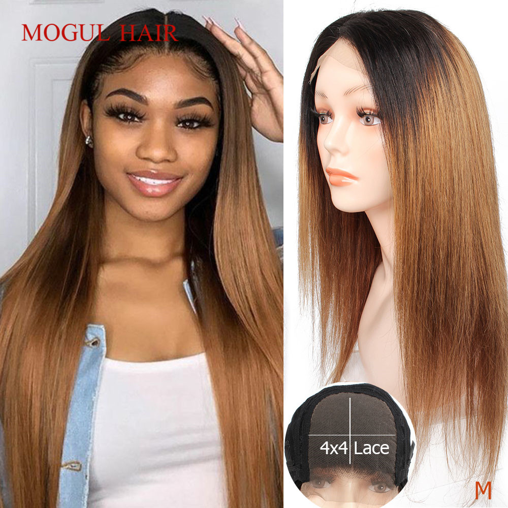 Mogul Hair 4x4 Lace Closure Wig Cheap Human Hair Wig Ombre Honey Blonde Brown Straight 150% Long 18
