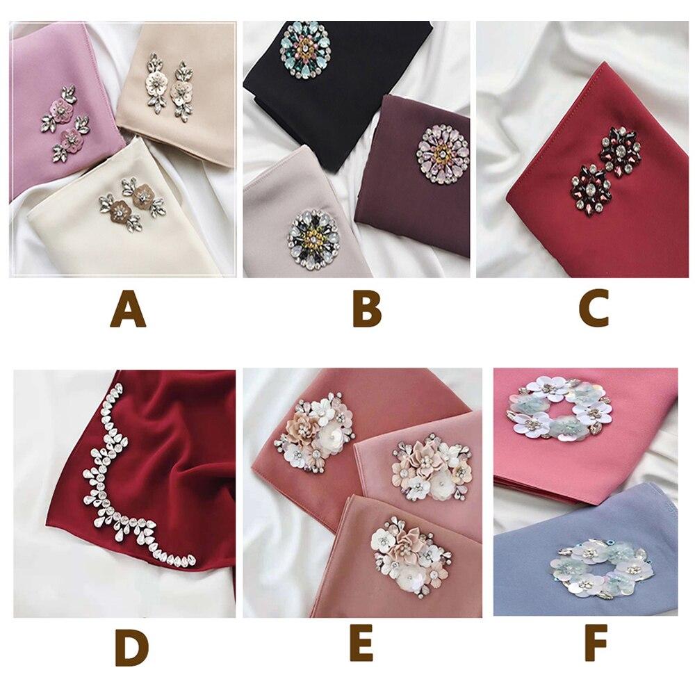 Diamonds Chiffon Abaya Hijab Scarf Muslim Hijabs Turbans For Women Jilbab Hoofddoek Moslima Headscarf Foulard Femme Musulman