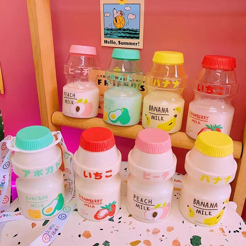 480ml Plastic Water Bottle Tour Drinking Bottle Yakult Shape Cute Kawaii Milk Carton Shaker Bottle for Kids/Girl/Adult