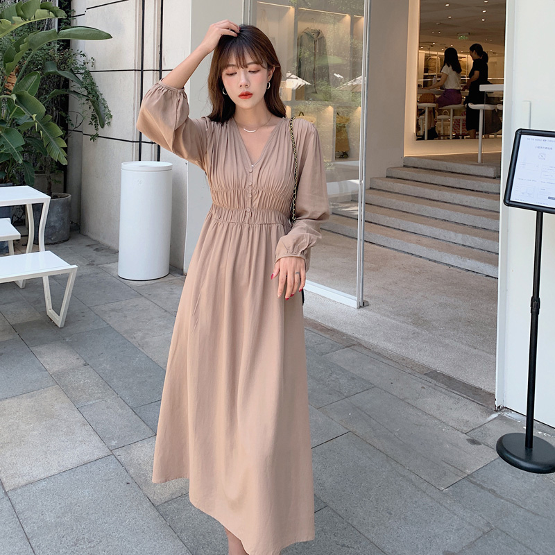Купить новое осеннее женское платье 2020 сексуальное с v образным вырезом