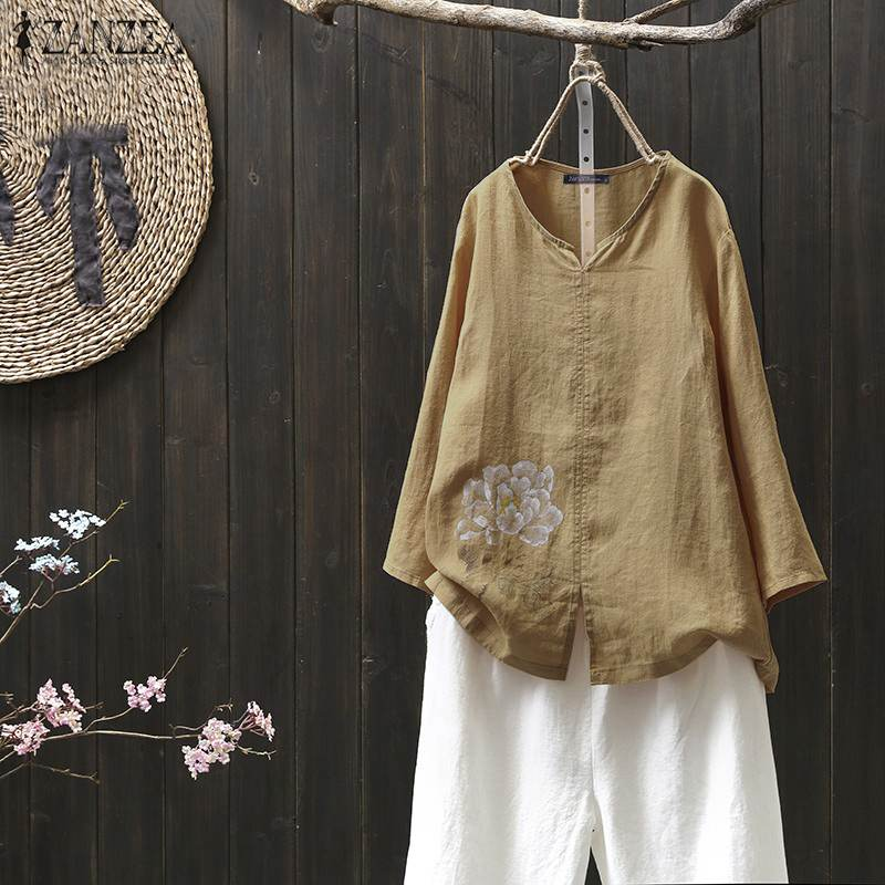 ZANZEA Women Cotton Linen Shirt Autumn O Neck Long Sleeve Floral Blouse Casual Blusas Femininas Tunic Tops Robe Femme Shirts 7
