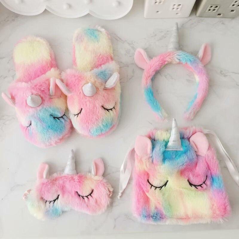 Anne ve Çocuk'ten Terlikler'de 1 adet tatlı Unicorn bebek kız ayakkabı peluş sevimli pamuk terlikler sonbahar kış kadın ev kaymaz sıcak kızlar ayakkabı terlik seti title=