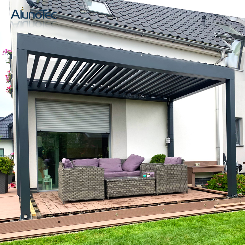ip 67 electric customized pergola opening patio aluminium louver roof systems 4m width x 5m projection x 3m height