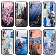 Beautiful Oia Santorini Greece Tempered Glass Phone Case for