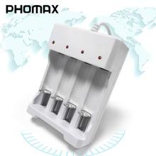 PHOMAX 4 فتحة 1.2 فولت سريع قابلة للشحن AA AAA شاحن بطارية 4 قطعة NiMH/بطارية نيكل كادميوم الذكية المحمولة LED شاحن بطاريات متعددة