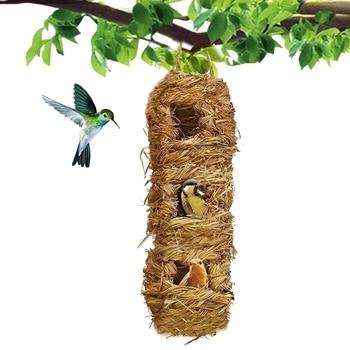 3 otwory wiszące trawa domek dla ptaków, domek dla ptaków na zewnątrz, kieszeń na ptaki, trawa Hut ptaków, wiszące niebieski domek dla ptaków