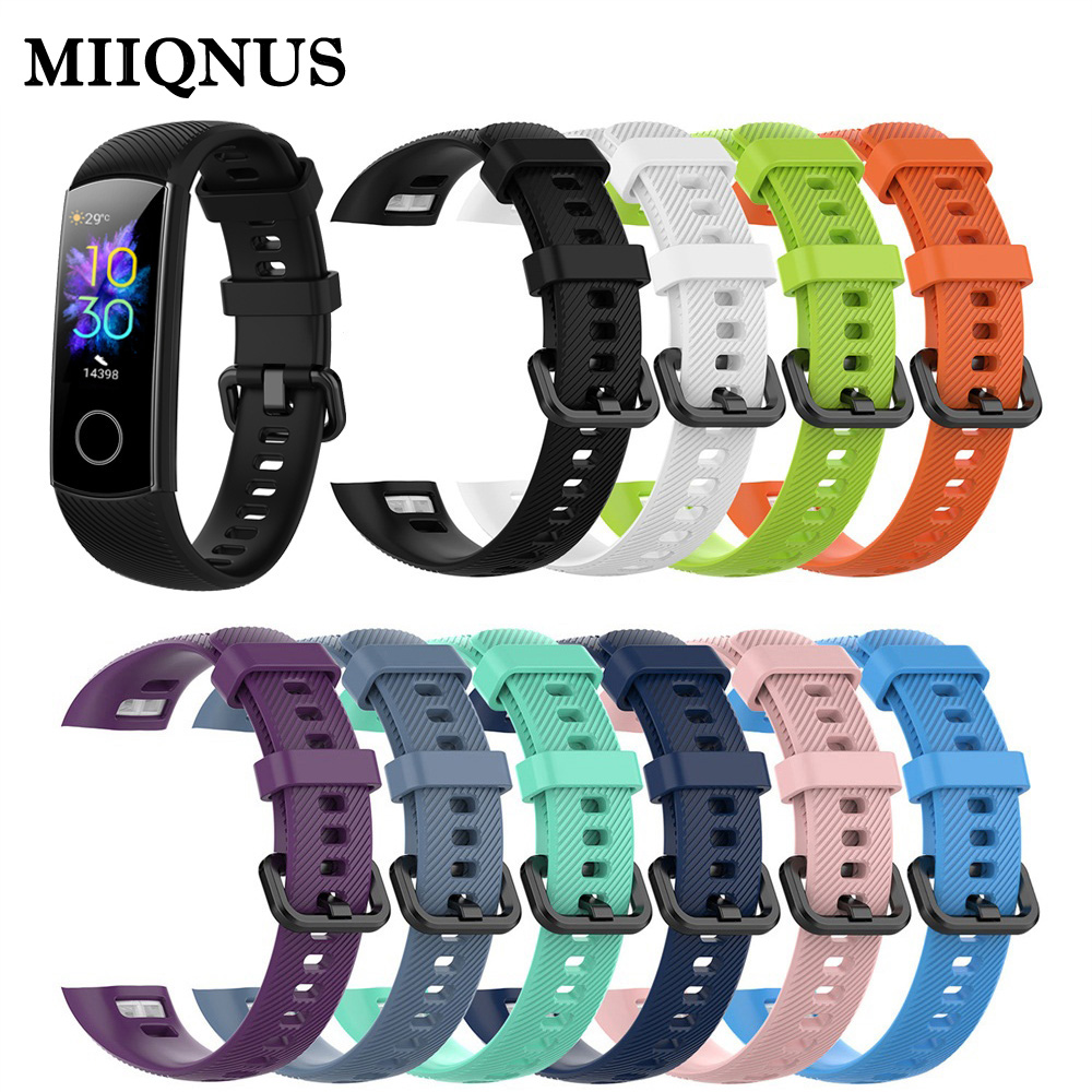 MIIQNUS New Coming Classic Silicone Wrist Strap Smart Wristband Replacement Watch Band For Huawei Honor Band 5 4 Sport Bracelet