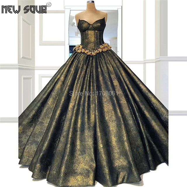 Ball Gown Shiny Turkish Evening Dresses Custom made Robe De Soiree Dubai Arabic Couture Party Gowns 2020 Kaftans Prom Dress New