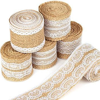 2 Yards/Roll Natural Burlap Ribbon Rolls with Lace Jute Twine for DIY Handmade Wedding Party Crafts image