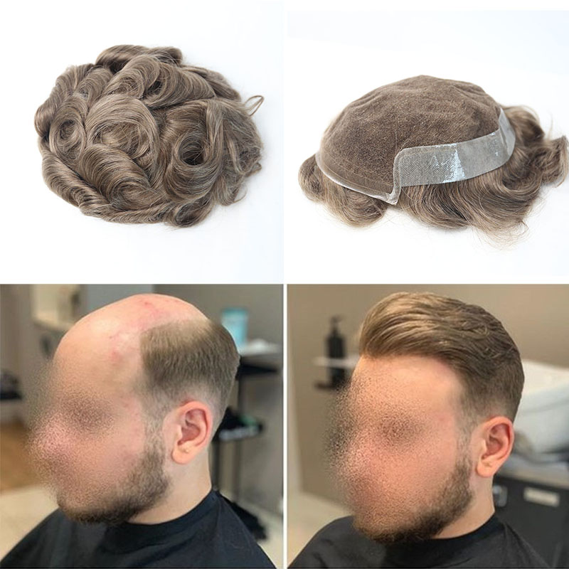Lace Base Toupee For Men 100% Human Hair Remy Hair Lace Thin PU Replacement System For Men 7x9 Inches Rosa Queen