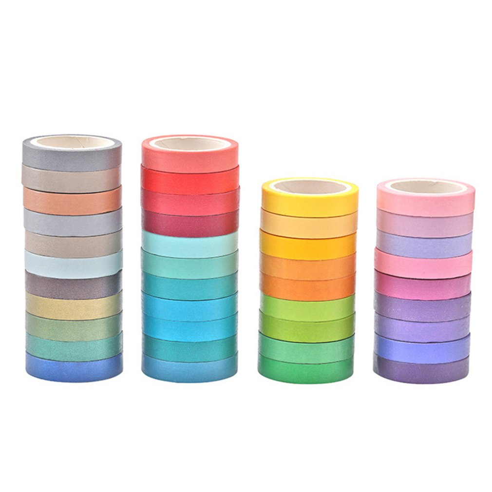 Fashion 40pcs DIY Cute Kawaii Candy Color Tapes Paper Masking Stickers For Home Decoration Scrapbooking