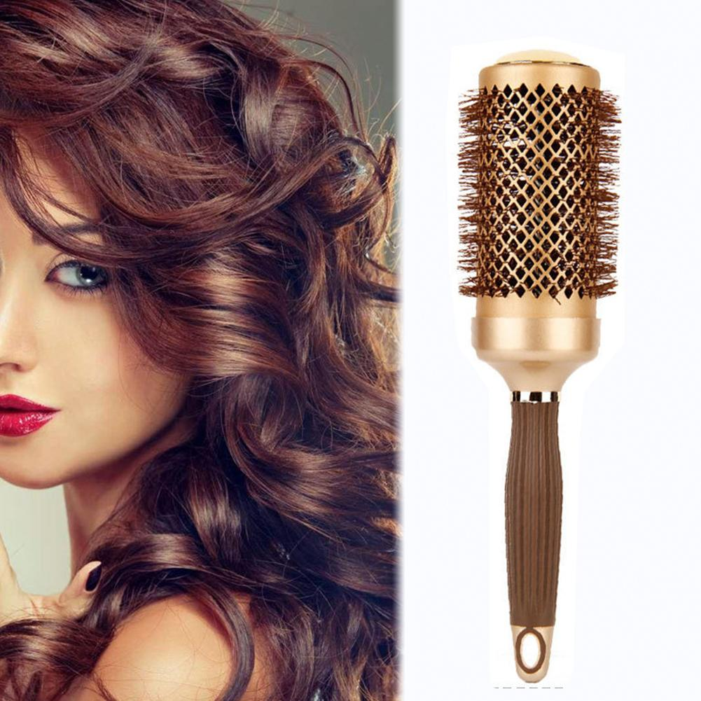 Women Hair Scalp Massage Comb Aluminum Round Curler Hairbrush Wet Curly Hair Brush For Home Salon Hairdressing Styling Tools
