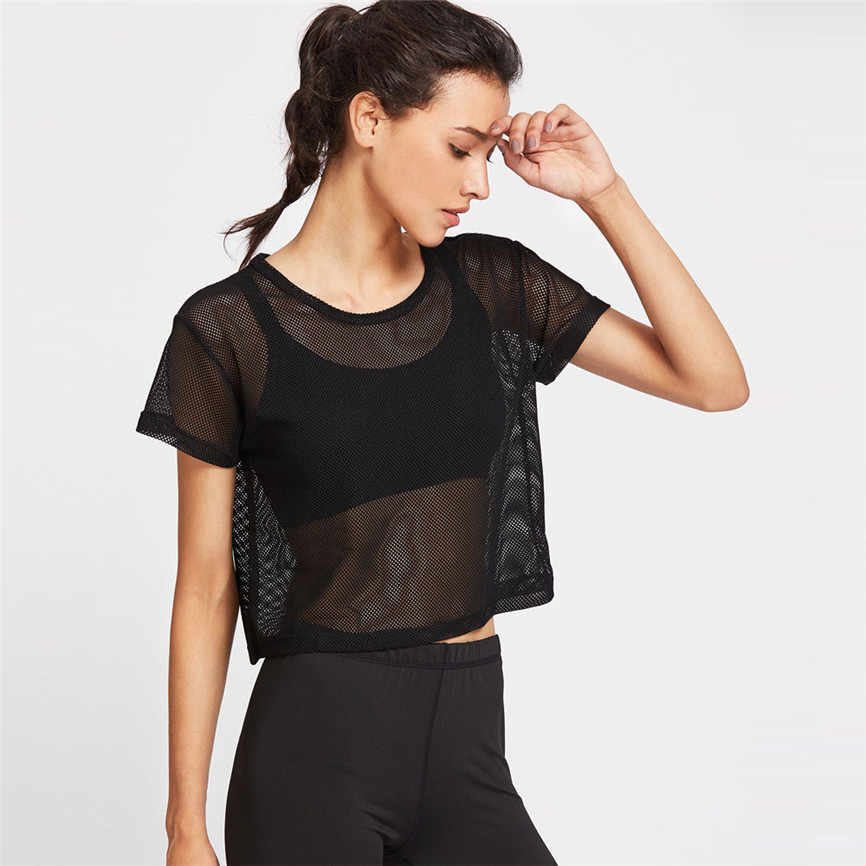 Women's Shirts For Summer 2019 Feminine Black Mesh Cover Up Sports Meshed Top Dancing Fitness Shirt Tops Gym Tops Female