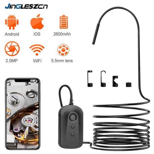 Caméra dinspection dendoscope de WiFi 5.5mm 1080P HD pour liphone Android 2MP caméra Semi rigide de serpent pour inspecter légout de moteur