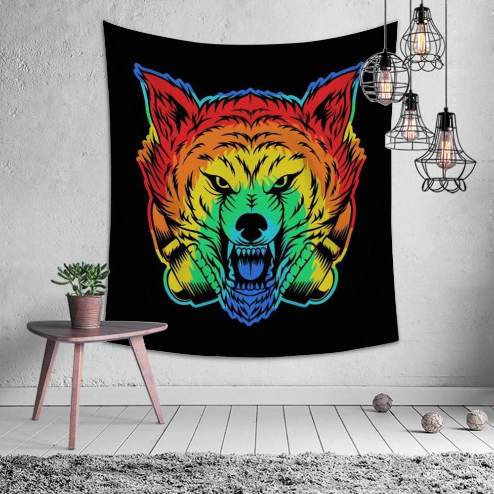 Cartoon Animal Lion Deer Tiger Tapestry Hippie Mandala Wall Hanging Bedroom Polyester Travel Trip Camp Psychedelic Tablecloth