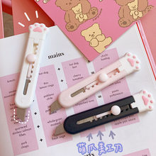 Mini Pocket Cat Paw Art Utility Knife Express Box Knife Paper Cutter Craft Wrapping Refillable Blade Stationery Kawaii