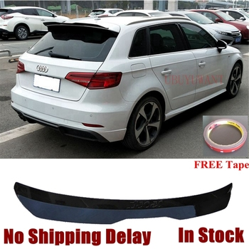 UBUYUWANT Fake Carbon Fiber Rear Roof Lip Spoiler For Audi A3 2014 2015 2016 2017 2018 2019 ABS Painted Spoiler Tail Trunk Wing