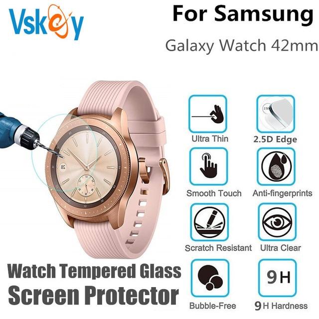 100 pces vidro temperado protetor de tela para samsung galaxy assista 42mm redondo relógio inteligente película protetora