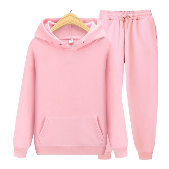 2020 new Men's ladies casual wear suit sportswear suit solid color pullover + pants suit autumn and winter fashion suit 4