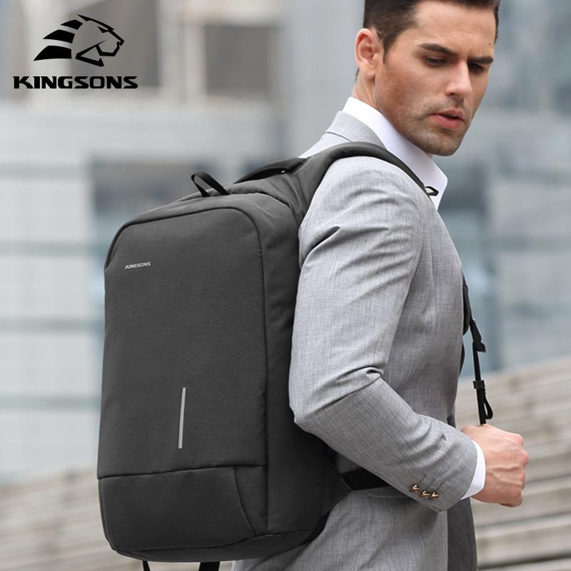 Kingsons Men's Backpack Fashion Multifunction USB Charging Men 13 15 inch Laptop Backpacks Anti theft Bag For Men