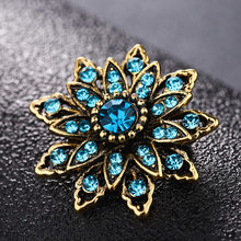 JUJIE Fashion Flower Brooches For Women 2020 Plant Crystal Brooch Vintage Lapel Pin For Men Retro Jewelry Wholesale/Dropshipping(China)