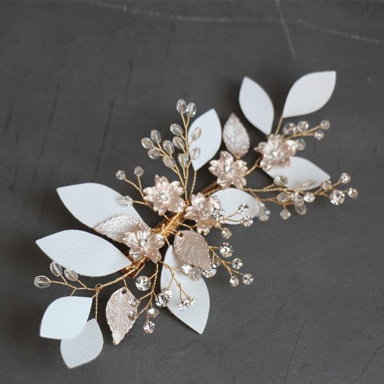 Handmade flannel Leaf Bridal Hair Clip Piece Handmade Gold Flower Women Headpiece Wedding Prom Hair Accessories