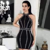 Летнее платье 2019, сексуальное платье знаменитостей с открытой спиной, бриллианты, женское платье без рукавов, Бандажное, облегающее платье