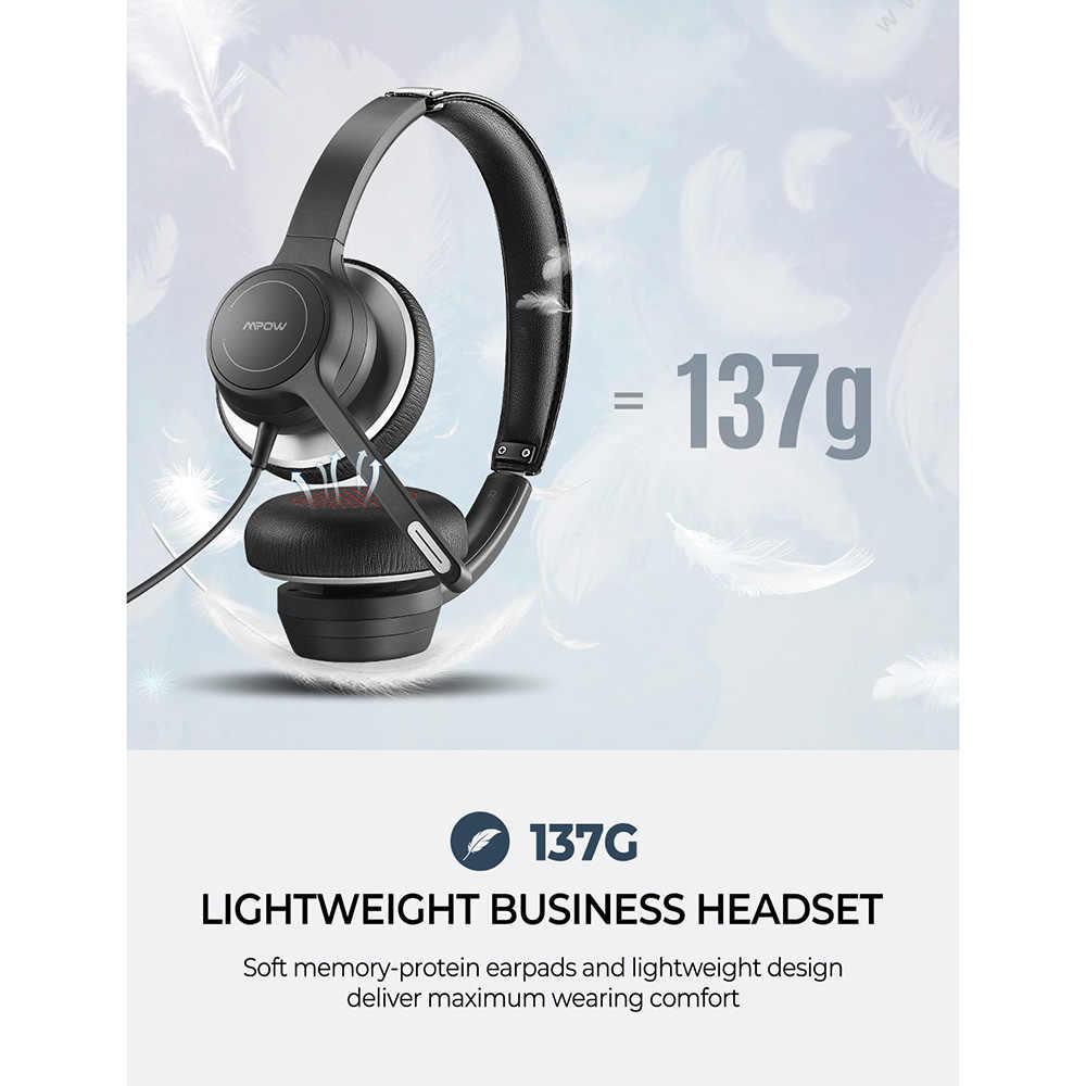 Mpow 328 słuchawki przewodowe USB 3.5mm słuchawki komputerowe z mikrofonem karta dźwiękowa z redukcją szumów dla komputera Skype call center