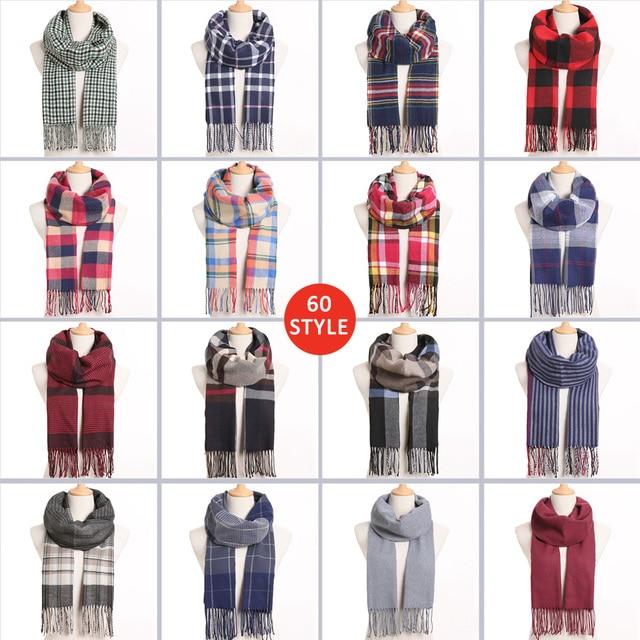 Plaid Winter Warm Foulard Solid Fashion Casual Cashmere Scarfs 2