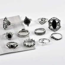Retro Midi Silver for Women Jewelry Knuckle Finger Rings Boho Punk Ring 11 Pcs/set 4 pcs set boho ring set 2019 fashion jewelry hollow compass rhinestone shell wedding ring set punk gold knuckle rings party gift