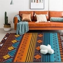 Azul marrón Vintage indio estilo étnico alfombra cocina sala de estar dormitorio cama antideslizante área alfombras pasillo felpudo suelo esteras
