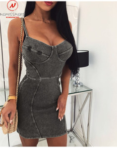 Image 2 - Sexy Women Denim Dress for Streetwear Patchwork Design Sling Sleeveless Backless Solid Lady Summer Bodycon Strapless Mini Dress