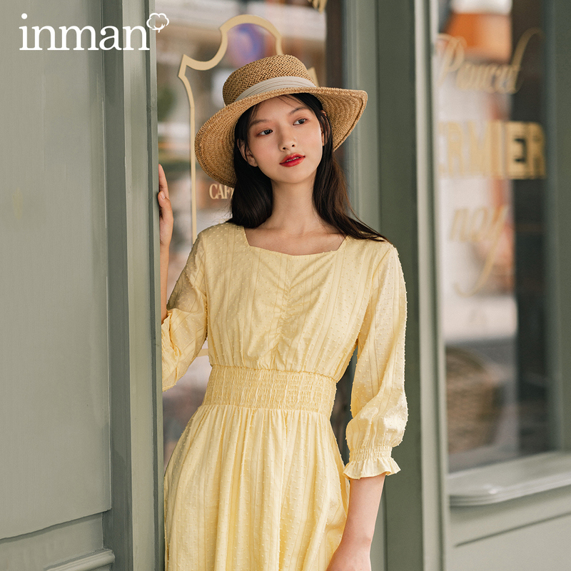 INMAN 2020 Autumn New Arrival French Style Vintage Cotton Square Neck Pleated Chest Ruffled Lace Sleeves Dress