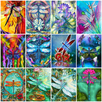 HUACAN Oil Paint By Number Animal DIY Coloring By Numbers Dragonfly Kits Drawing On Canvas Hand Painted Painting Home Decor