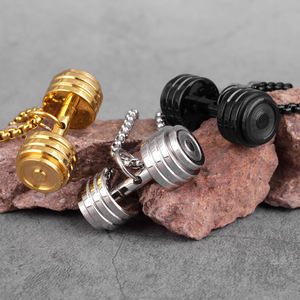 Gold Black Dumbbell Fitness Men Necklaces Pendants Chain for Boyfriend Male Stainless Steel Jewelry Creativity Gift Wholesale