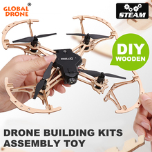 Mini Drone Quadrocopter with Camera / LED Lights Wooden Building Kits Dron Gift for Children Adult Technic Assembly STEAM Toy